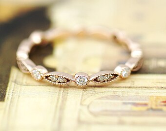 Diamond Band, Diamond Ring, Diamond Wedding Band, Art Deco Half Eternity Diamond Band, Engagement Ring, Diamond Ring, Vintage Ring