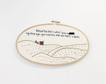Barren Field of F***s - Embroidery Hoop Art - Embroidery Wall Hanging