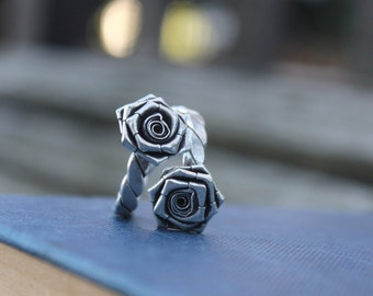 Silver rose ring Flower silver ring Handcrafted silver ring Boho flower ring Bohemian silver ring Sterling silver ring Gift for her
