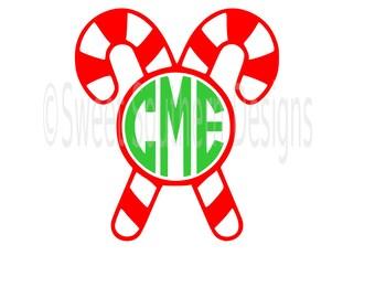 Candy cane monogram Christmas design SVG instant download design for cricut or silhouette