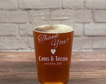 Wedding Favors, Wedding Favor Glass, Thank You Beer Glass, Thank You Glasses, Thank You Glass, Unique Wedding Favor, Unique Thank You, Favor