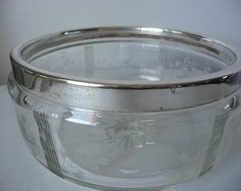 Antique Acid Etched Cut Crystal Fruit Serving Bowl Silver Plate Rim c1882-86