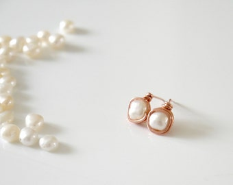 Rose Gold Wire Wrapped Fresh Water Pearl Earrings | Rose Gold | Pearl Studs | Wire Wrapped