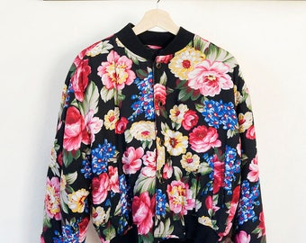 very rad 90s floral bomber jacket by Lizwear, size medium