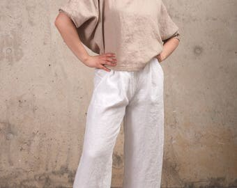 Womens Linen Top- Linen Tunic - Loose Linen Tunic Top- Oversized Linen Top - Plus Size Linen Top - Linen Top with Sleeves- Natural Linen Top