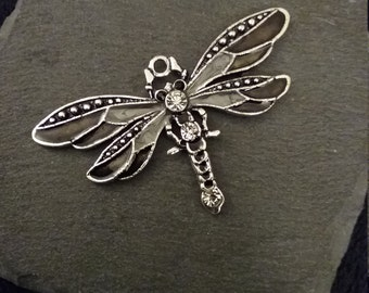 Large Black & Grey Emamel Silver Tone Dragonfly Pendant with Clear Rhinestones