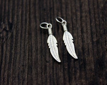 2pcs Sterling Silver Feather Charm with Jump Ring,Silver Feather Charms, Feather Pendant