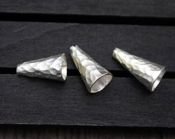 Sterling Silver Hammered Bead Caps,Hammered Silver Bead Cones, Tassel Cap