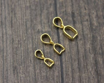 2pcs- Sterling Silver Pinch bail pendant clasp, 24K Gold plated,Bail connector,Pendant clasp