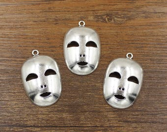 10pcs Mask Charm Antique Silver Tone 26x40mm - SH567