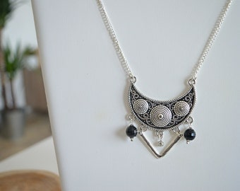 Necklace ethnic necklace silver rhinestones
