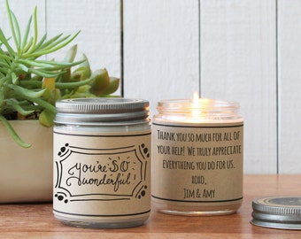 You're So Wonderful Candle Gift - Thank You Gift | Appreciation Gift | Teacher Aid Gift | Candle Gift | Thank You Card | Scented Candle Gift