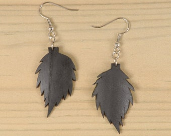 Inner tube leaf earrings, FREE SHIPPING, leaf dangle earrings, Eco friendly earrings, Recycled Jewelry, Unique Jewelry, ethical gift