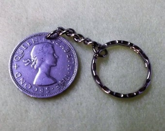 """New Zealand  """"One Florin""""  coin 1965  -  attached to a keychain"""
