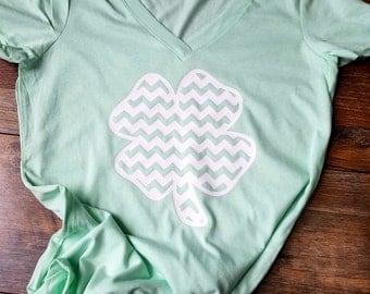 St. Patrick's Day Shirt - St Patty's Day - Ladies Vneck - Shamrock Shirt - Womens Clothing