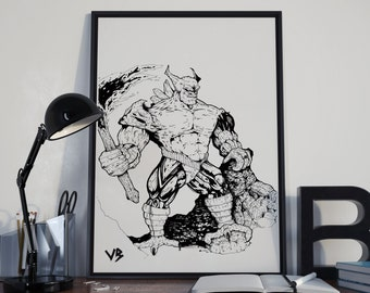 Spawn Comics, Original Art, Spawn Poster, Todd McFarlane, Spawn Art, Spawn Print, Pen and Ink, Comic Book Print, VillainBros, Bobby Manquen