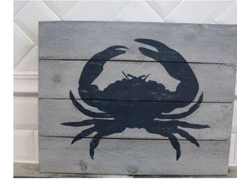 Crab Wood Sign, Coastal Decor, Weathered Wood Sign, Crab Sign, Beach House Decor, Crab, Lake House, Crab Decor
