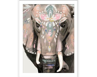 Boho Elephant Print. Elephant Art. Elephant Painting. Elephant Gift.  Animal Art. Illustrative Art.