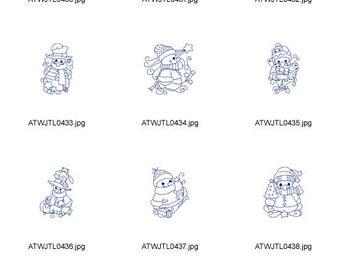 Friendly-Snowman ( 10 Machine Embroidery Designs from ATW ) XYZ17C