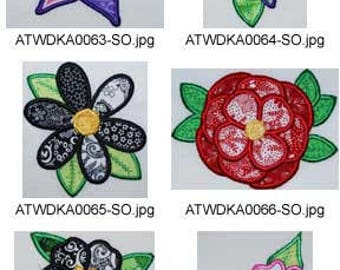 Patchwork-Applique-Flowers ( 9 Machine Embroidery Designs from ATW ) XYZ17E