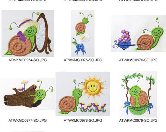 Little-Snails-Applique. ( 10 Machine Embroidery Designs from ATW )