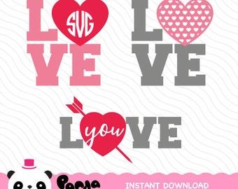 Valentine's Day Monogram SVG, Love Cricut, Silhouette Studio, Be my valentine day, Heart Cameo, Screen Printing, PM-0021