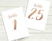 Rose gold foil effect wedding table numbers, PRINTABLE table numbers, DIY wedding table signs, wedding table decor