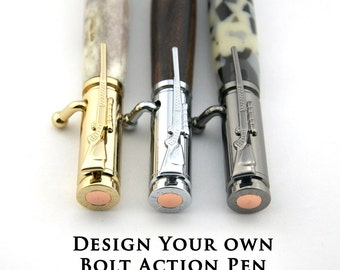 30 Caliber Bolt Action Pen in Wood or Deer Antler | Hunter Gift, Military Veteran Gift, Husband Gift, 5th Anniversary Gift - Made To Order
