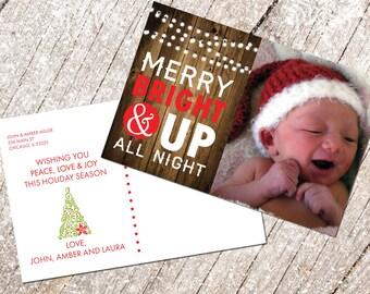 Holiday Card with custom photo, printable, Christmas card with custom photo, postcard, instant download