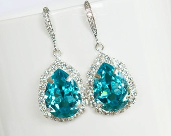 Handmade Swarovski Light Turquoise Pear Crystal Dangle Earrings, Bridal, Wedding (Sparkle-2604)