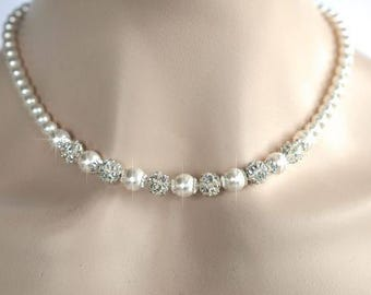 Handmade Swarovski Pearl Bridal Necklace, Bridal, Wedding (Pearl-385)