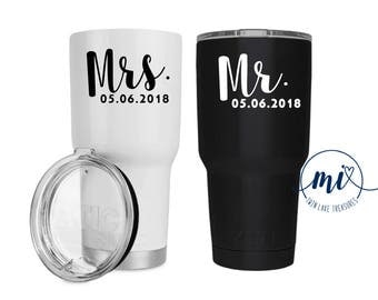 Mrs. & Mr. Date Decal / Custom Color, Size / Wedding, Engagement, Save the Date, Black, White, Married, Marriage DECAL ONLY