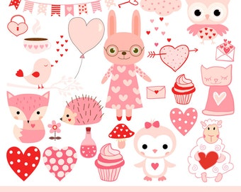Cute Valentine animal clipart, Pink kawaii animal clip art, Valentine clip art, Love clipart, bunny, penguin, fox, cat, owl, bird, hedgehog