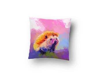 Hedgehog Throw Pillow - hedgehog pillow, cute animal pillow, animal nursery decor, hedgehog decor, baby shower gift, colorful pillow
