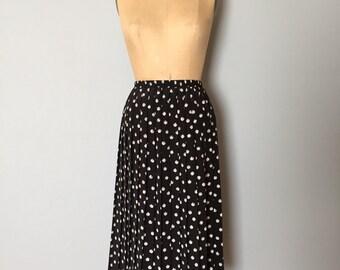 polka dot pleated midi skirt | black pleated accordion skirt
