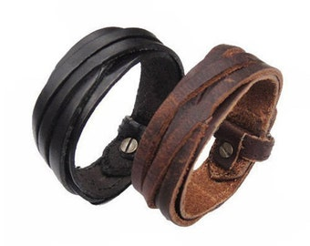 Great quality genuine leather Cuff bracelet in Black & Brown/Woven multi-strand adjustable bracelet/Gift for her or him/Gift under 20/ C-4