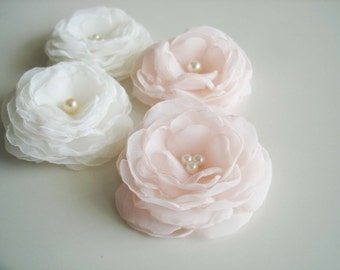 Organza Flowers  Wedding hair flowers, Bridal  clips,Flower Girl Hair Accessories, Ivory Blush Hair Flowes, Bridesmaid Bulk Flower Hair Clip
