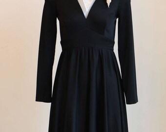 1970's Black Ruffle Hem Long Sleeve Dress