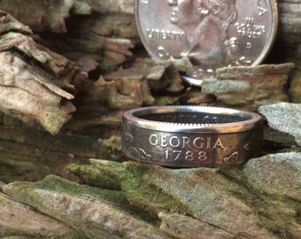 Silver Georgia quarter coin ring