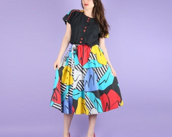 80s Abstract Colourful Summer Dress