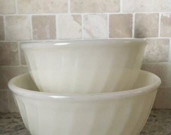 Fire King White Swirl Mixing Bowls set of two