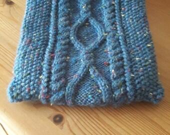 Denim Blue Fleck Knitted Aran Hot Water Bottle Cover, Knitted Hot Water Bottle Cozy, Irish Hand Knit