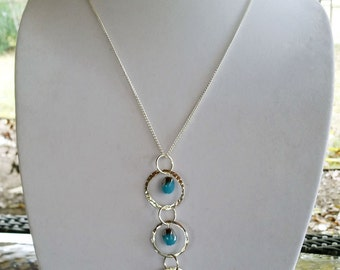 Silver Circle and Bead Necklace