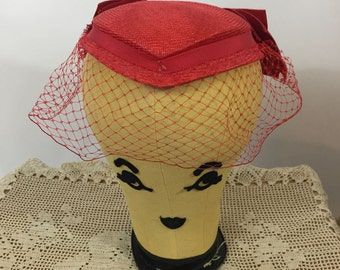 Vintage Red Sonni of San Francisco Hat Easter Church Wedding Hat