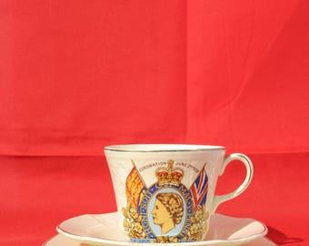 1950s H.M Queen Elizabeth II 1953 Coronation tea cup and saucer