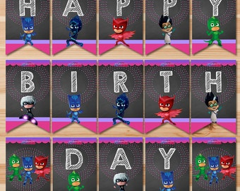 PJ Masks Birthday Banner - Pink Chalkboard - Girl PJ Masks Banner - PJ Masks Birthday Girl Party - Pj Masks Party Printable Happy Birthday