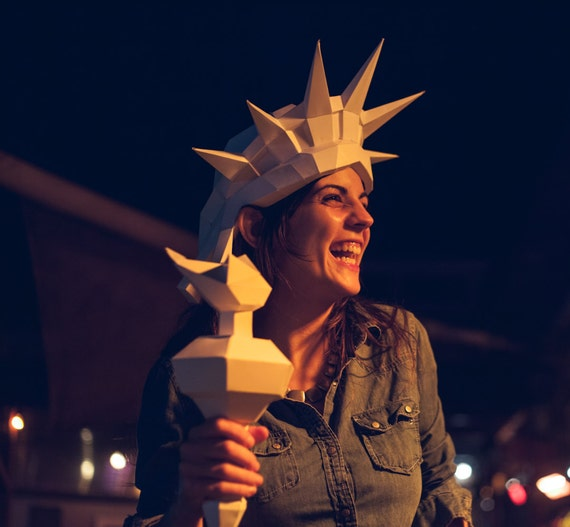 3d paper statue of liberty mask printable papercraft template