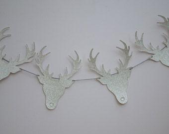 Glitter Reindeer Christmas Bunting - Festive Garland