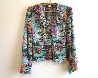 Multicolor Floral Print Ruffled Blouse Romantic Crushed Blouse Long Sleeves Sequined Top Extra Large Size 1X / 2X