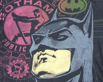 "Vintage 80's/90's Michael Keaton Batman ""Gotham Public Works"" all over double sided print Made in USA XL"